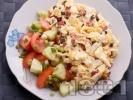 Рецепта Бъркани яйца с шунка, кашкавал и маслини